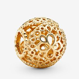 authentic flowers Australia - Fits Pandora Authentic Bracelet Charm Gold Openwork Flower Sterling Silver 925 Pendant Charms Beads European Charms DIY Style Jewelry
