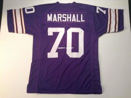 Football Ends NZ - Cheap Retro custom Sewn Stitched #70 Jim Marshall Purple MITCHELL & NESS Jersey High-end Men's Football Jerseys College NCAA