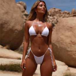 Swimwear removable padS online shopping - Summer Removable Strap Thong Bikini Set Solid Color Padded Swimsuit Swimwear Women Nylon Sexy Bandage Bikinis Bathing Suit