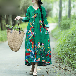 $enCountryForm.capitalKeyWord Australia - Women Boho Vintage Loose Casual Dress Printed Cotton Linen Dress Long Sleeves Oversized Robe Maxi Long Dress Vestidos