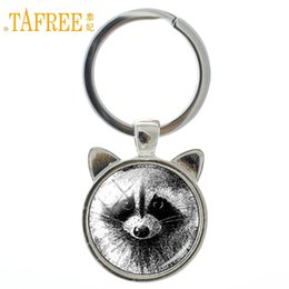 Vintage Glasses Round Australia - TAFREE Vintage charm Raccoon keychain retro wild animal raccoon glass dome ear key chain ring holder men women car jewelry CN140