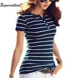 strip women top 2019 - T Shirt Women 2018 Summer Top Shirts V-neck Short Sleeve Casual Tshirts White Strip T-shirt Plus Size Cotton Tee Shirt F
