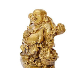 Yellow Pole UK - The copper money wealth Maitreya Buddha pick pick lucky Wangcai copper ornaments Maitreya Buddha feng shui supplies
