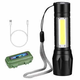 self defense rechargeable flashlight 2019 - LED Flashlight Side COB lamp USB Rechargeable Zoomable 3 Light Modes Working lamp Self Defense Tactical Flashlight cheap