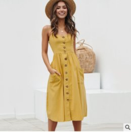 $enCountryForm.capitalKeyWord Australia - Sexy halter dress with button back high quality women's casual dress simple and easy halter dress