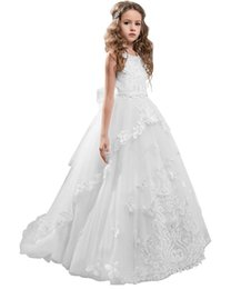 Kids Graduation Clothes Australia - Flower Girl Dress Kids Lace Beaded Pageant Ball Gowns Cute Brithday party Dress Kids Clothing Formal Occasion Dress