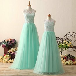 Images White Evening Dresses Australia - Transparent White and Mint Green Real Image Tulle Lace Floor Length A Line 2019 Bridesmaid Dress Custom Made Evening Party Wedding Prom Gown