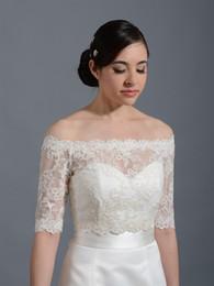 Make Half Sleeve Jacket Australia - On Sale Free Shipping White Lace Bride Bolero Off Shoulder Half Sleeves Bridal Wedding Jacket Wedding Wraps Shawl