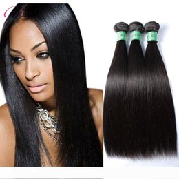 black weaves Canada - BD Silky Straight Human Hair Extensions 3 Bundles Natural Black Top Malaysian Straight Human Hair Weave