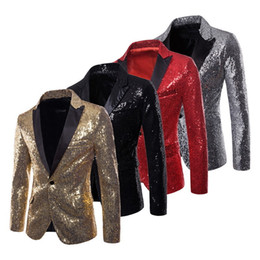 $enCountryForm.capitalKeyWord Australia - Lasperal Mens Suits Jacket With Bow Tie Fashion Sequin Costume Nightclub Singer Wedding Grooms Shiny Blazer Gold White Red Black Y190420