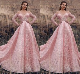 $enCountryForm.capitalKeyWord Australia - Vintage Arabic Pink Full Lace Prom Dresses 2019 New Arrival Sheer Neck Long Sleeves Lace Sequins Formal Party Evening Gowns BC2019