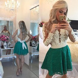 Lilac Homecoming Dresses Australia - Sexy Lace Green Homecoming Dresses With Long Sleeves Pearls A line Hollow Back Short Prom Graduation Cocktail Gowns Plus size Cheap 20