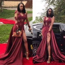 Black Long Dresses Slit Australia - Burgundy Long Sleeves High Slit Prom Dresses 2019 Black Girls Jewel Neck Appliques Lace Long Arabic Evening Party Gowns Custom Made