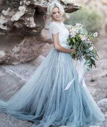 wedding dresses colored trains Canada - Light Blue Wedding Dresses Lace Crop Top Short Sleeve Tulle A-line Bridal Gowns Colored Wedding Gowns 2019