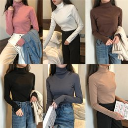 Winter T Shirt Lady Australia - 2019Spring Autumn Women T-Shirts solid Turtleneck Long Sleeve Tops Tees Ladies Winter Bottoming Shirts Basic Fall Female Tshirts J190424