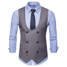 Wholesale New Type Male Pure Double row Button Clip Hot Selling Male U collar Pure Color Leisure Vest Double Row Button Large Size Men Jacket