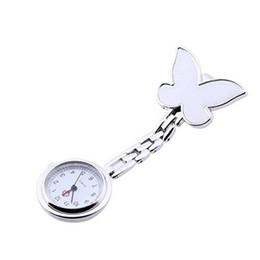 Glass butterfly dresses online shopping - Pocket Medical Nurse Fob Watch Women Dress Watches Clip on Pendant Hanging Quartz Clock Butterfly Shape relogio de bolso