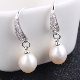 $enCountryForm.capitalKeyWord Australia - 2019 fashion new simple oval freshwater pearl women crystal rhinestone hanging dangle earrings for summer beach wear