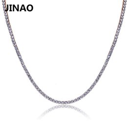 cz chains Australia - JINAO Gold Silver Rosegold Color Iced Out Chain Hip Hop Copper Micro Pave CZ Stone2.5-10mm Tennis Chain Necklace SH190927