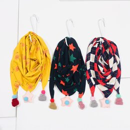 korean boys scarfs Canada - Japanese and Korean geometric fruit hanging ball children's Fruit cartoon printed cotton thickened warm triangle scarf student scarf