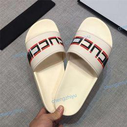 f409c449bd4c 2019 Top Men Women Sandals Designer Shoes snake print Luxury Slide Summer  Fashion Wide Flat Sandals Slipper With Box Dust Bag Size 36-46