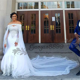 watteau crystal wedding dresses 2019 - Nigerian African Mermaid Wedding Dresses with cape watteau train 2019 Gold beaded long sleeves bateau Wedding Gown plus