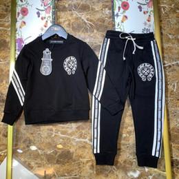 $enCountryForm.capitalKeyWord Australia - Boys sets Kids designer clothing round collar blouse set British wind ribbon splicing metal nail set cotton fabric sweater set