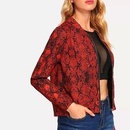 Blouse Zippers Australia - New Autumn Fashion Women Coat Snake Print Baseball Blouse Zipper Coats Jacket Blouse chaqueta mujer 2018