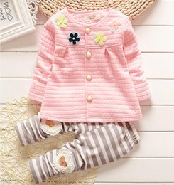 Baby Pink Tracksuit NZ - Baby girls spring autumn christmas outfits pink clothing children tracksuit flower cardigan suit kids girls set wt1747