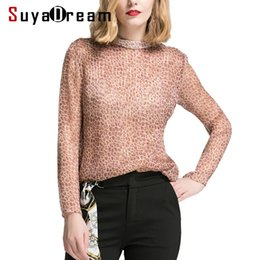 $enCountryForm.capitalKeyWord NZ - Women Long sleeve SHIRT 100% Real silk Leopard Print Transparent casual Top Stand collar 2019 Spring T