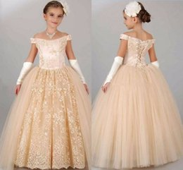 $enCountryForm.capitalKeyWord UK - Golden print Flower Girl's Dresses Lace Applique ball gown Dance dress Low Back Floor Length Girl's Birthday Party Pageant Dresses