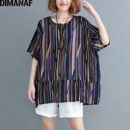 $enCountryForm.capitalKeyWord Canada - Dimanaf Plus Size Women T-shirts Basic Lady Tunic Tops Vintage Print Striped Linen Female Clothes Big Size Tee Loose 2019 Summer Y19042501