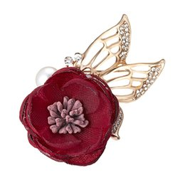 Pearl Women Clothing Australia - 2019 Red Flower Brooch Pin for Party Cute Rhinestone Pins and Brooches for Women New Pearl Brooches Badge for Clothes