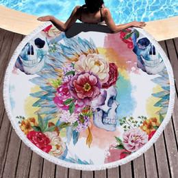 $enCountryForm.capitalKeyWord NZ - Colorful Skull Round Beach Towel Floral Tassel Tapestry Watercolor Flower Yoga Mat Gothic Toalla Blanket 150cm