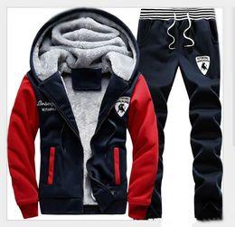 Cool Sweatshirt Jackets Canada - Winter AutumnMen Sweat Suits Fleece Warm Mens Tracksuit Set Casual Jogging Suits Sports Suits Cool Jacket Pants And Sweatshirt Set Wholesale