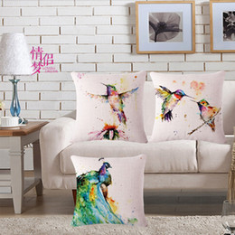 cushion patterns NZ - Coloured Drawing Or Pattern Birdie Cotton Flax Pillow Back Cushion Loose Coat