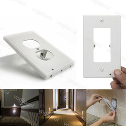 LED-Nachtlicht PIR 110V 0.5W 3LED Nacht Platte Stecker-Abdeckung mit LED-Leuchten Engels-Wand-Outlet-Abdeckung Flur ABS Licht DHL im Angebot