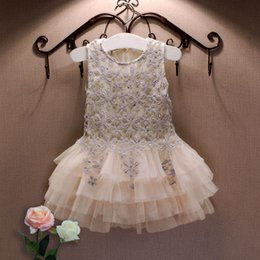 tutu length age UK - Summer New Lace Vest Girl Dress Baby Girl Princess Dress 3-7 Age Children Clothes Kids Party Costume Ball Gown