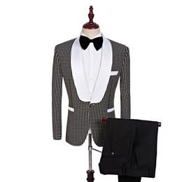 $enCountryForm.capitalKeyWord NZ - Custom Made Brand Groomsmen Shawl White Lapel Groom Tuxedos black Men Suits Wedding Best Man Two-piece Suite