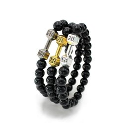 $enCountryForm.capitalKeyWord Australia - Wholesale-Charm Dumbbell Bracelets For Women Men Jewelry New Arrival Black Bead Fitness Fit Life Prayer Barbell Buddha Bracelet Handmade