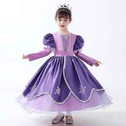 costume wedding dresses kids NZ - Princess Dress Kids Girls Puff Sleeve Dresses for Party Infant Baby Girl Birthday Gift Children's Wedding Dress Costume S360