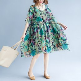 $enCountryForm.capitalKeyWord Australia - Plus Size Summer Dress Women Chiffon Print Loose Sweet Fashion Casual Short Sleeve Holiday New Beach Dresses Sundress 6543