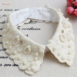 short fake collars UK - Vintage Women Embroidered White Cotton Detachable Collar Newly Design Hot! Women White Lace Flower Fake Shirt Collar Necklace