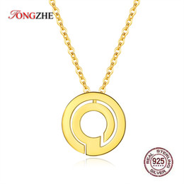 coin pendant letter 2019 - TONGZHE 925 Sterling Silver Round Coin Long Necklace Statement Letter Pendant Necklace Women Jewelry Custom 2019 cheap c