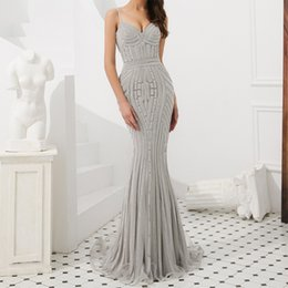 $enCountryForm.capitalKeyWord UK - Graceful Spaghetti Silver Evening Gown Overall Beading Tulle Evening Dress Gold Mermaid Floor Designer Evening Gown Patterns Robe Gala