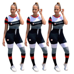Women strip t shirts online shopping - Champions Letter Strip Splicing Women Sports Suit Short Striped T shirt Top tees Pants Piece Set Tracksuits Casual Outfit S XL C3251