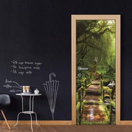 Landscapes For Wall Stickers Australia - Door Wall Mural Wallpaper Stickers Rainforest Landscape Door Cover Vinyl Removable Decals for Home Room Decoration