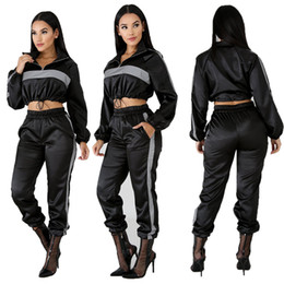 Wholesale sexy black pant outfits resale online – 2019 Reflective Tracksuit Two Piece Set Women Clothes Black Crop Top Pants Sweat Suit Sexy Club Outfits Matching Sets