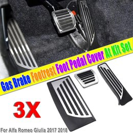 Pedals Brake Gas Australia - 3Pcs Car Interior Gas Brake Foot Pedal Pad Footrest Cover Aluminum Alloy PVC for Alfa Romeo Giulia 2017 2018