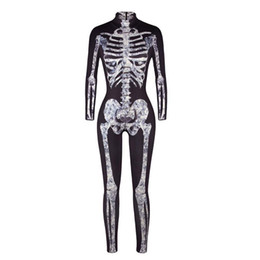 Women Christmas Jumpsuits NZ - Adult Women Halloween Scary X-Ray Fever Skeleton Bone Printed Costume Bodysuit Jumpsuit Black Grey Catsuit Outfit For Ladies
